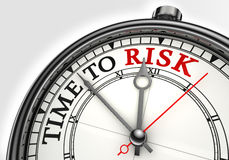Risk time concept clock closeup. On white background with red and black words Stock Photos