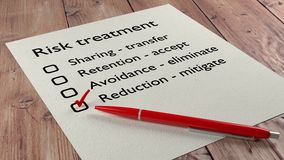 Risk treatment checklist ballpen and tick marks Stock Photos