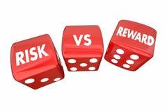 Risk Vs belöningrullningstärning ROI Words Arkivfoton
