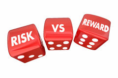 Risk Vs Reward Rolling Dice ROI Words Stock Photos