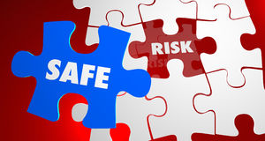 Risk Vs Safe Dangerous Security Puzzle Piece Royalty Free Stock Images