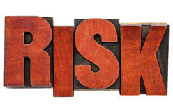Risk word abstract in wood type Stock Photos