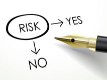 Risk word circle marked by fountain pen Stock Photography