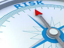 Risk word on compass isolated. 3d rendering Royalty Free Stock Photos