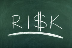 Risk. Word on green blackboard Stock Photography