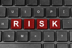 RISK word on keyboard. Risk red word on keyboard, business financial concept royalty free stock image