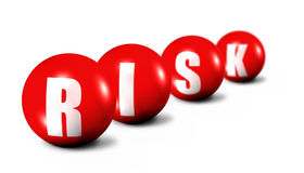 Risk word made of 3D spheres. On white background, focus set in foreground Stock Photos
