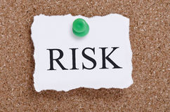 Risk word pinned on a cork board Stock Image