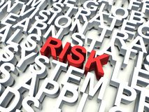 Risk. Word Risk in red, salient among other related keywords in white. 3d render illustration Royalty Free Stock Photo