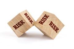 Risk word written on cube shape. Risk word written on cube shape wooden surface isolated on white background Stock Image
