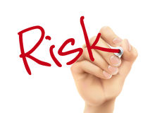 Risk word written by 3d hand Royalty Free Stock Photography