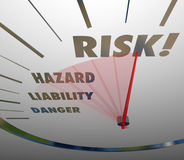 Risk Words Speedometer Measure Liability Danger Hazard Level Stock Photography