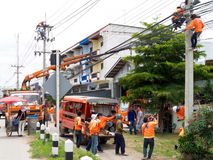 Risk in working of electricians, Thailand Stock Image
