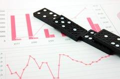 Riskanter Domino über einem Finanzgeschäftsdiagramm Stockfoto