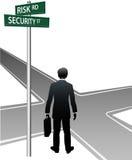 risken för personen för affärsbeslutet undertecknar gatan royaltyfri illustrationer