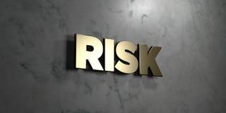 Risken - guld- tecken som monteras på den glansiga marmorväggen - 3D framförde den fria materielillustrationen för royalty Arkivbilder