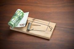 Riskera euroen för fällainvesteringpengar Arkivfoto
