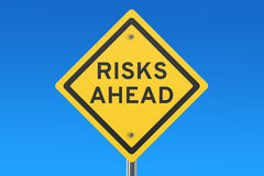 Risks Ahead road sign. On blue sky Royalty Free Stock Photo