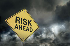 Risks ahead road sign. Road sign show risk in advance Stock Images