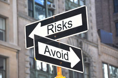 Risks-Avoid signs Stock Photo
