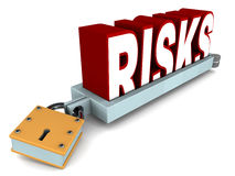 Risks in control. Risk under control concept, risk locked down in metal clamps vector illustration