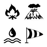 Risks and dangers from natural disasters, which are taken into account in the insurance of housing. Vector icons set with natural disasters. Four elements of Royalty Free Stock Image
