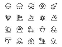 Set of natural disaster icons in line style. Risks and dangers, which are taken into account in the insurance of housing: earthquake, flood, hurricane, tsunami Royalty Free Stock Photo