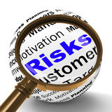 Risks Magnifier Definition Shows Insecurity And Financial Risks Royalty Free Stock Image