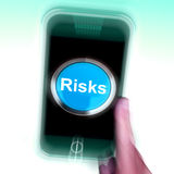 Risks On Mobile Phone Shows Investment Risks And Economy Crisis Stock Images