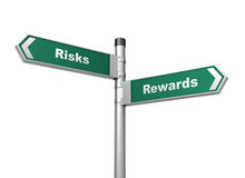 Risks rewards road sign Royalty Free Stock Photo