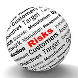 Risks Sphere Definition Shows Insecurity And. Risks Sphere Definition Showing Insecurity Threatening And Financial Risks Stock Photo