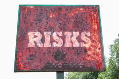 Risks text message Stock Images