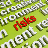 Risks In Word Cloud Shows Investment Risks Royalty Free Stock Image
