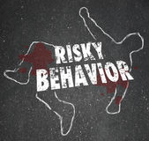 Risky Behavior Chalk Outline Dead Body Accident. Risky Behavior words on a dead body chalk outline to illustrate crime, an accident or victim of bodily harm royalty free illustration