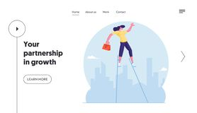 Free Risky Business Idea Website Landing Page. Businesswoman With Briefcase Balancing On Stilts At City Skyline Background Royalty Free Stock Photos - 163645938