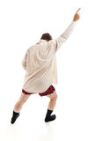 Risky Business. Middle aged man dancing around in his socks, shirt, and underwear, singing old time rock & roll songs.  Isolated on white Stock Photos