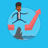 Risky businessman jumping over ocean with shark. African-american businessman jumping over ocean with shark. Businessman jumping over gap on ascending graph Royalty Free Stock Photography