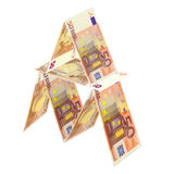 Risky Euro. House of Cards from 50 Euro Bills Royalty Free Stock Images