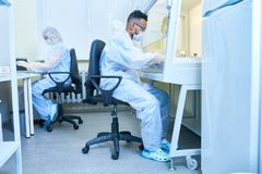 Risky experiment in laboratory Stock Image