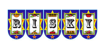 Risky gambling fruit machine stock illustration