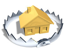 Risky House Trap. Gold house model in center of shiny steel trap with sharp teeth. Symbol of house poor, investment risk, or a downturn in the housing market Royalty Free Stock Images