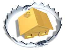 Risky House Trap. Higher view looking down on gold house model in center of shiny steel trap with sharp teeth. Symbol of house poor, investment risk, or a Stock Photo