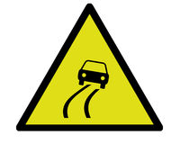 Risky road. A yellow sign warning of a risky road ahead royalty free illustration