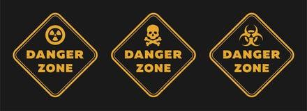 Riskzontecken, utstrålning, toxicitet och livsfara på en mörk bakgrund vektor illustrationer