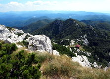 Risnjak National Park. Panoramic view with mountain hut in Risnjak National Park, Croatia Stock Images