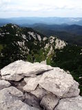 Risnjak National Park. Panoramic view with mountain hut in Risnjak National Park, Croatia Royalty Free Stock Image