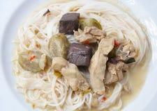 Risnudlar i grön curryhöna, thailändsk mat Fotografering för Bildbyråer
