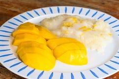 Riso appiccicoso della noce di cocco tailandese con il mango Fotografia Stock
