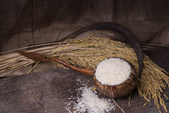 Riso bianco in ciotola di legno Fotografie Stock