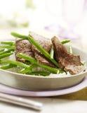 Riso bianco con i fagiolini e la bistecca Fotografia Stock Libera da Diritti